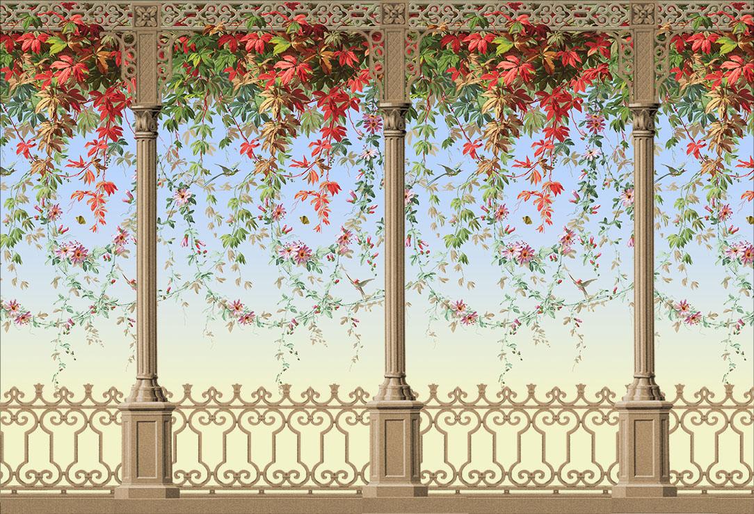 Décor Feuillage et oiseaux avec décor Veranda
