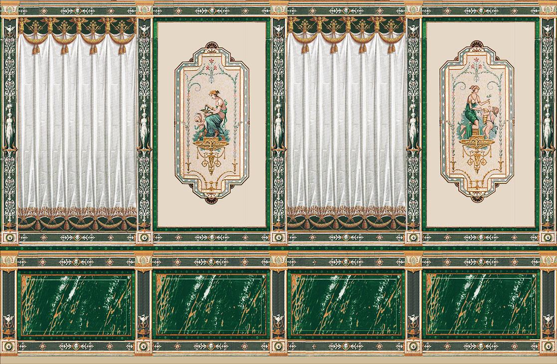 Decor Grec avec draperie et décor Pompéi