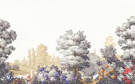Fleuri - Fond Blanc - Impréssion Grise et jaune