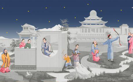 Grisaille avec personnages colorés et ciel étoilé